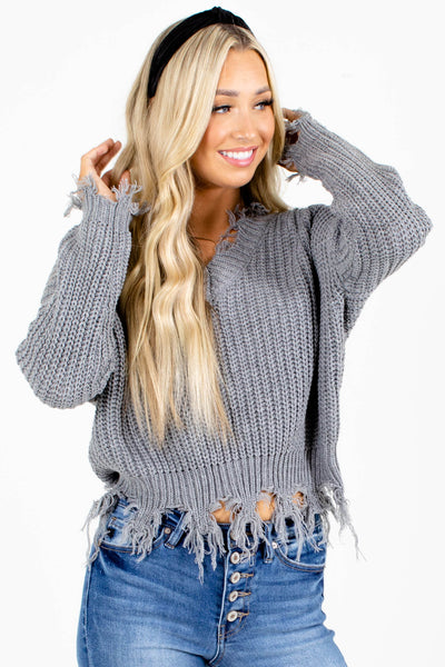 Gray V-Neckline Boutique Sweaters for Women