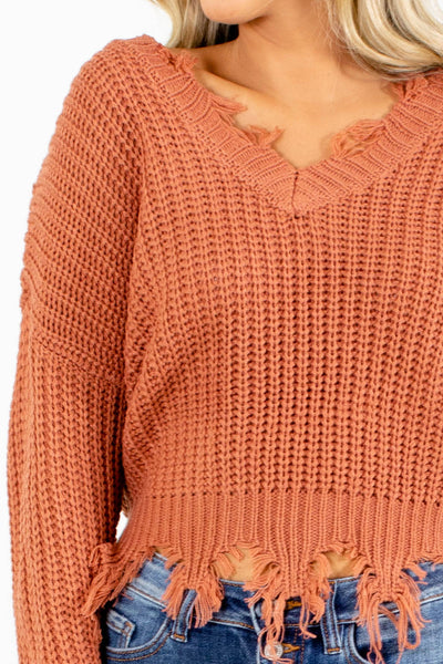 Women's Salmon Cropped Length Boutique Sweater