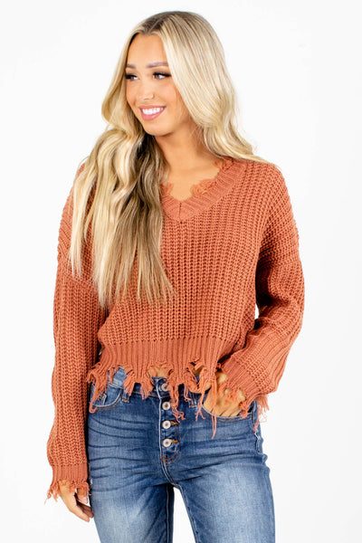 Salmon Distressed Detailed Boutique Sweaters for Women