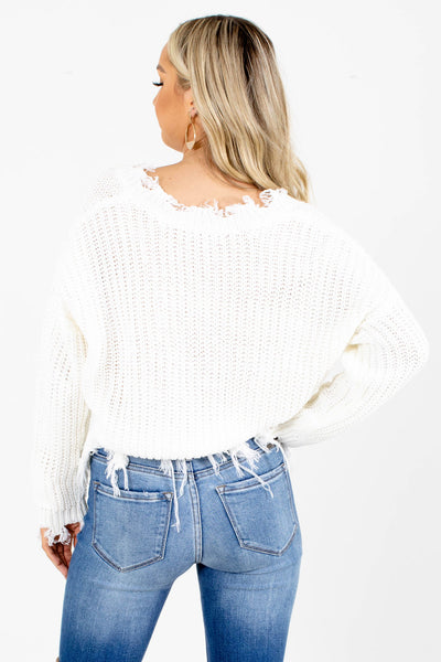 Women's White Cozy and Warm Boutique Sweater