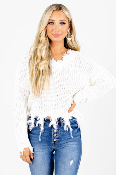 White Cute and Comfortable Boutqiue Sweaters for Women