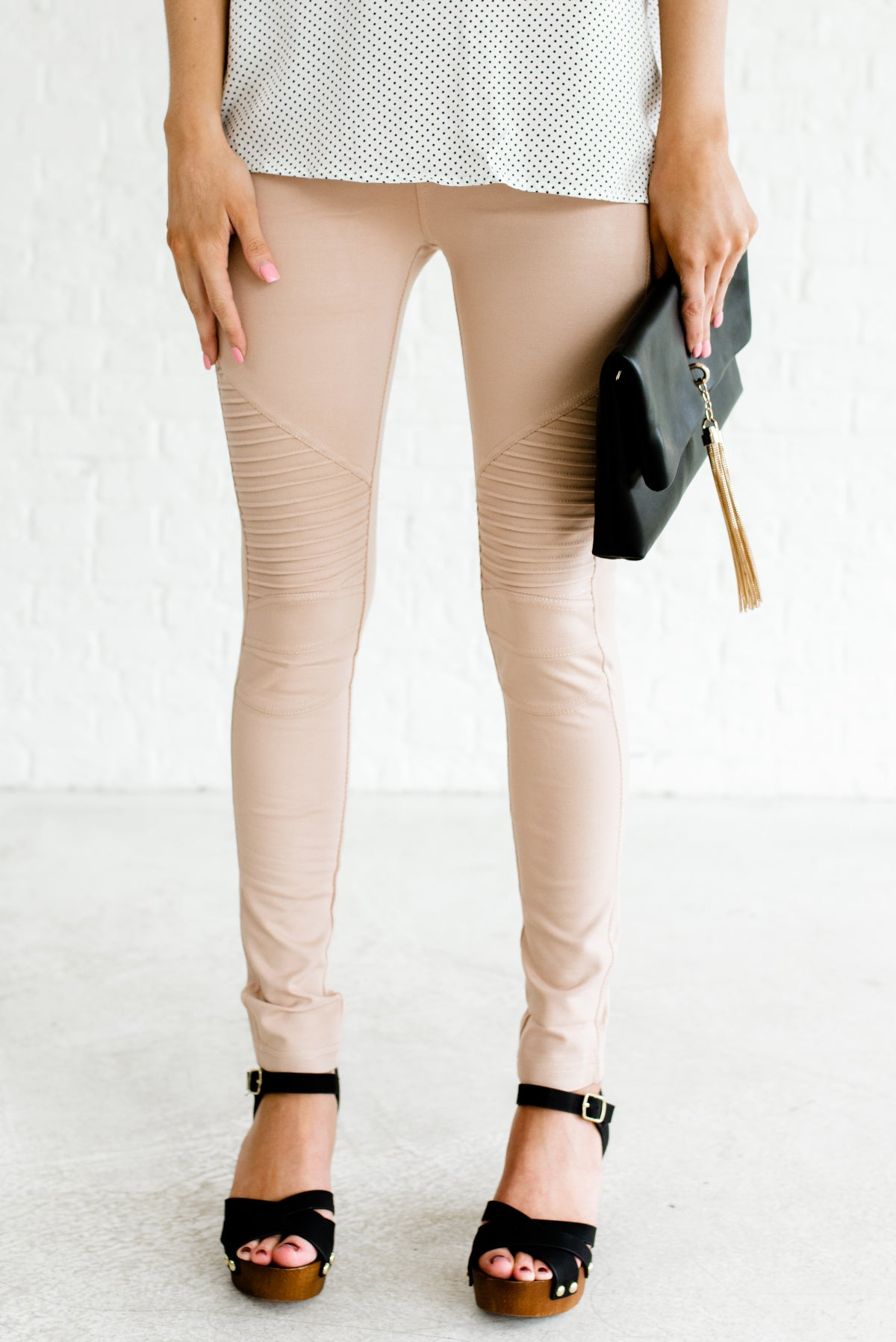 Beige Light Brown Neutral Moto Jeggings Affordable Online Boutique