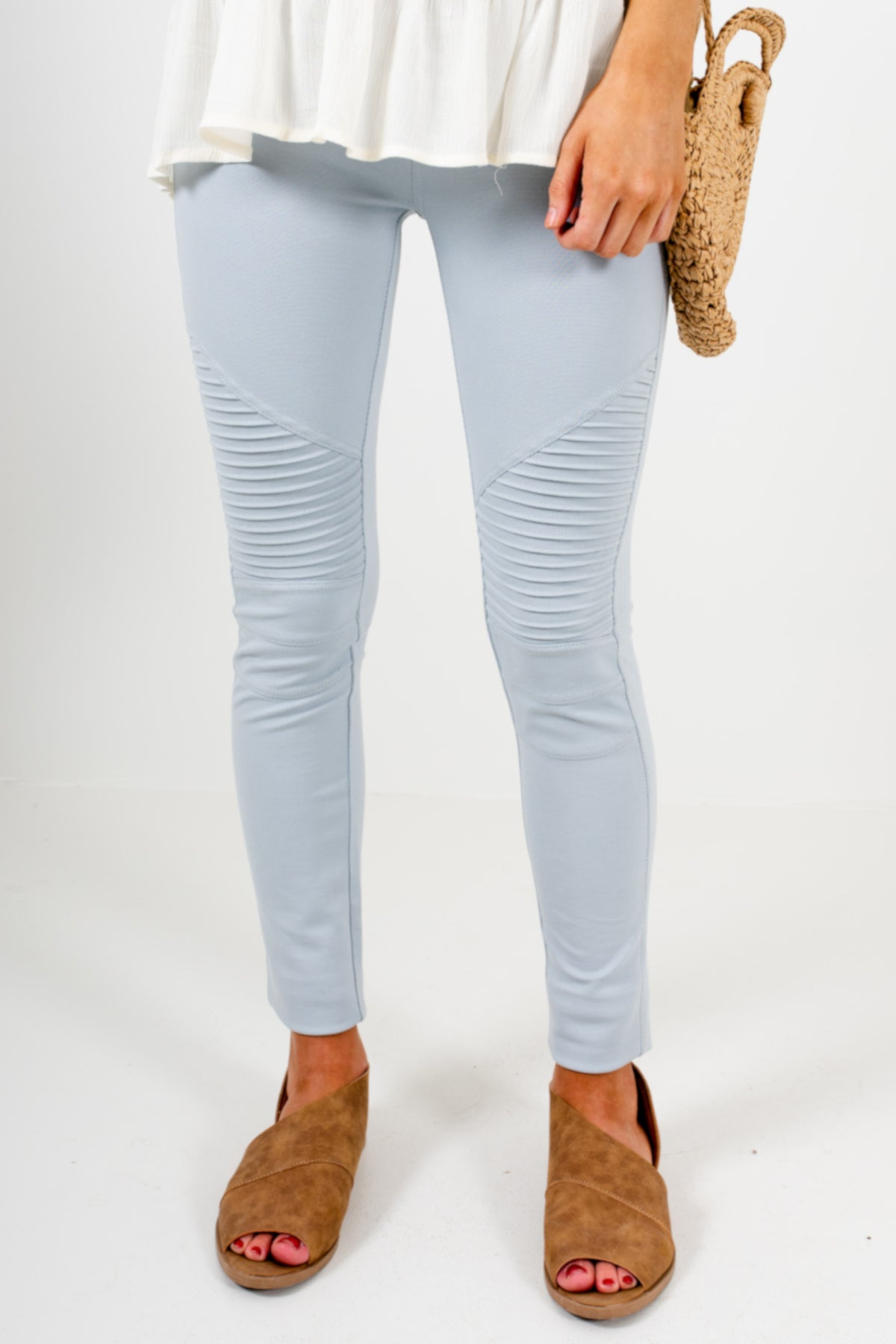 Sky Blue Cute Moto Jeggings Jean Leggings Affordable Online Boutique