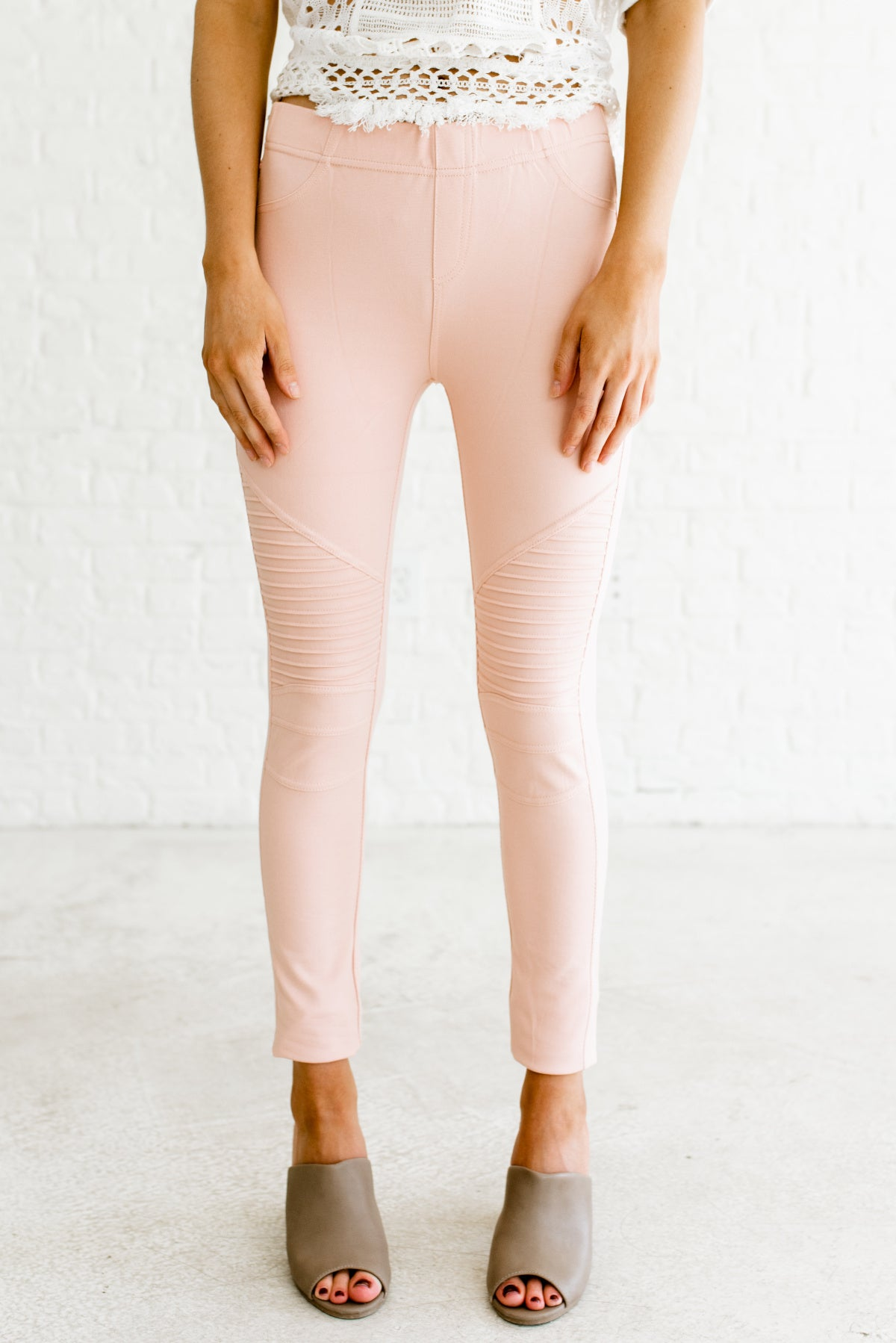 Blush Pink Cute Moto Jeggings Jean Leggings Affordable Online Boutique