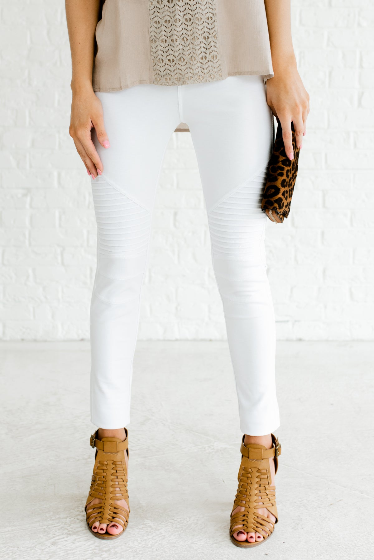 White Moto Jeggings Stretchy Faux Jean Leggings Boutique Pants
