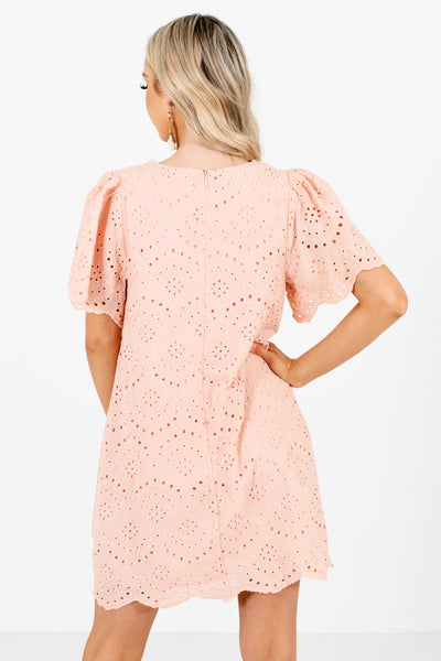 Women's Pink Scalloped Edges Boutique Mini Dress