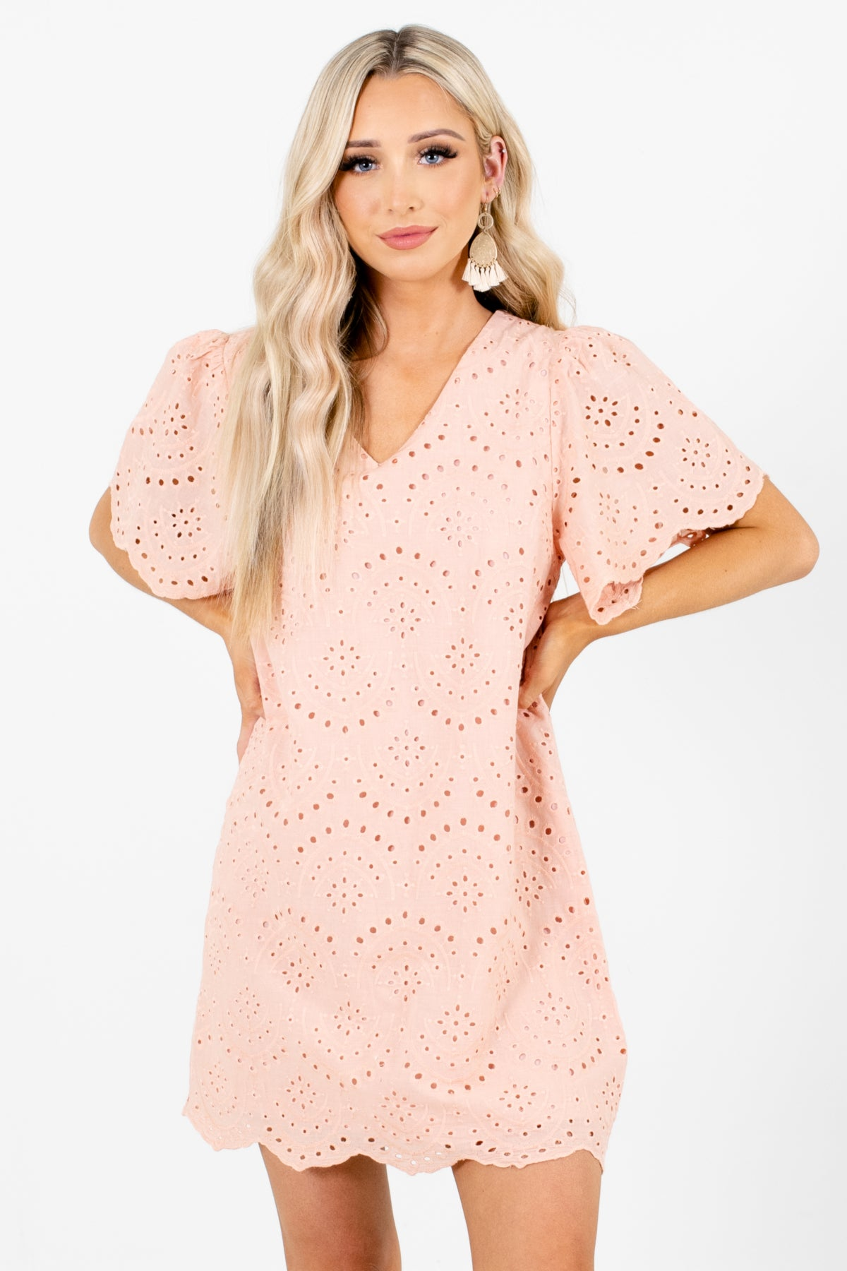 Pink Eyelet Material Boutique Mini Dresses for Women