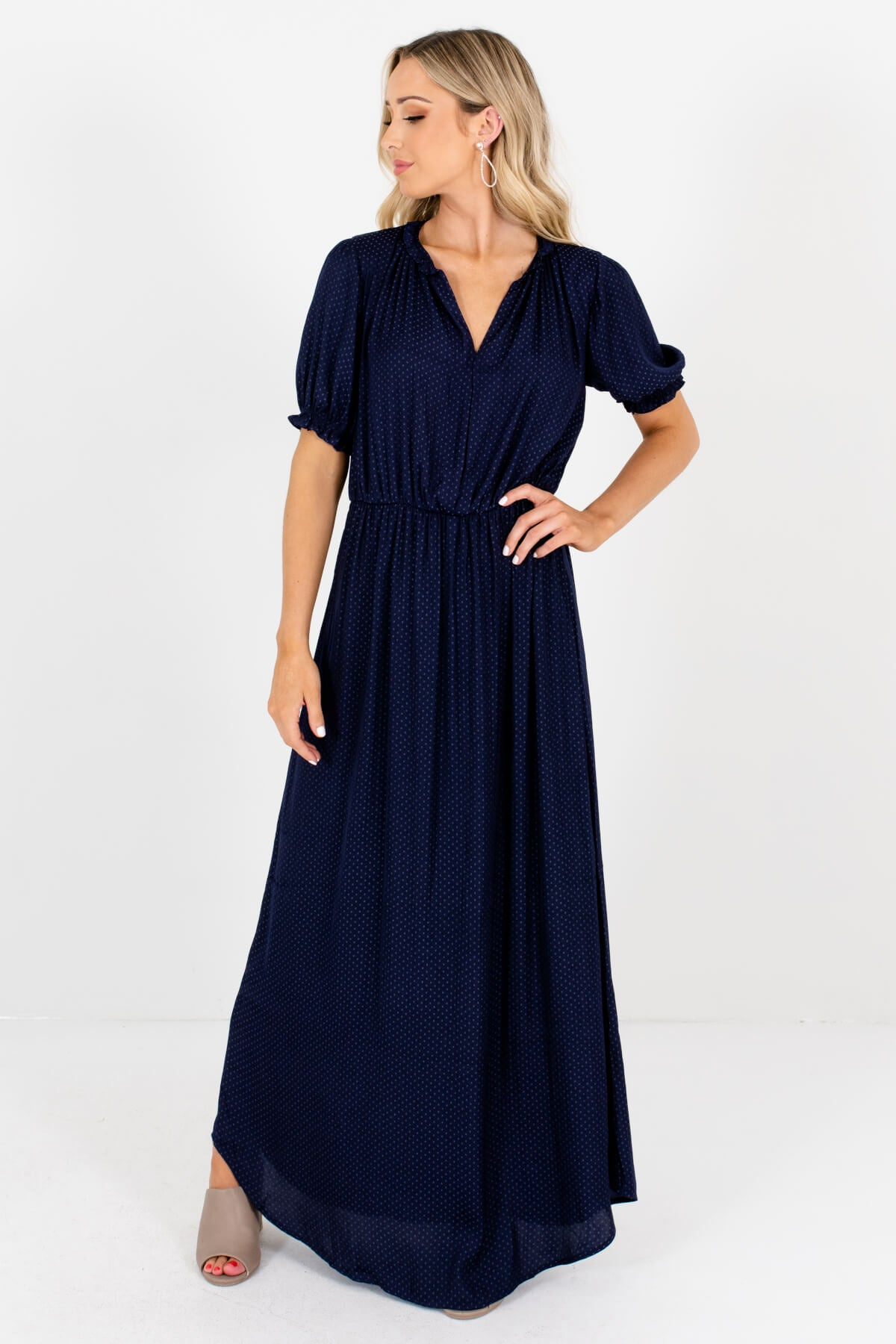 Blue Square Patterned Boutique Maxi Dresses for Women