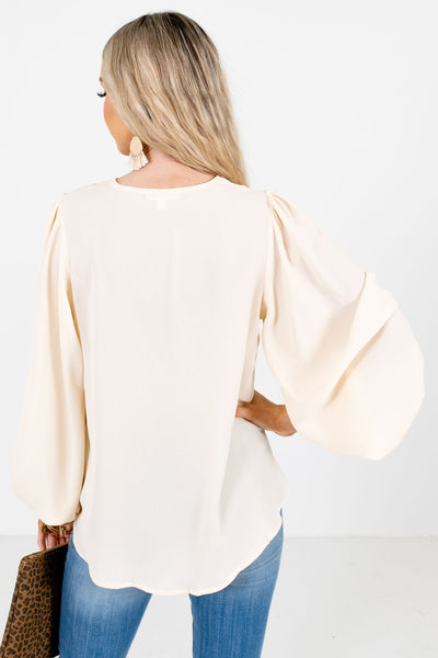 Women's Cream Bishop Sleeve Boutique Blouses