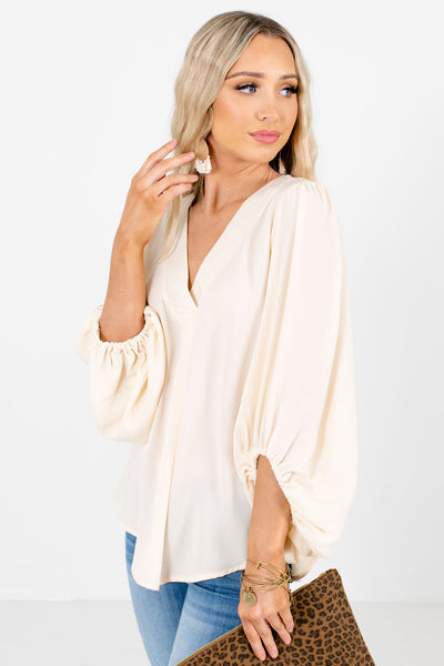 Cream Lightweight High-Quality Material Boutique Blouses for Women
