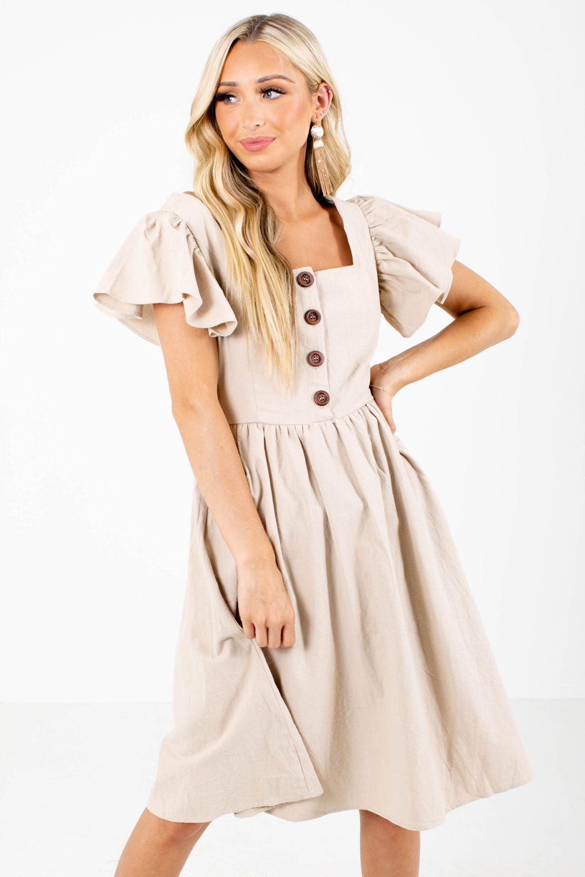 Taupe Brown Button-Up Bodice Boutique Knee-Length Dresses for Women