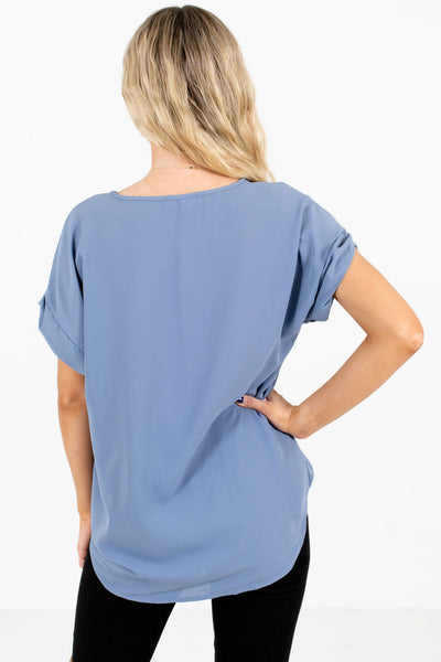 Women's Blue Cuffed Sleeve Boutique Blouse