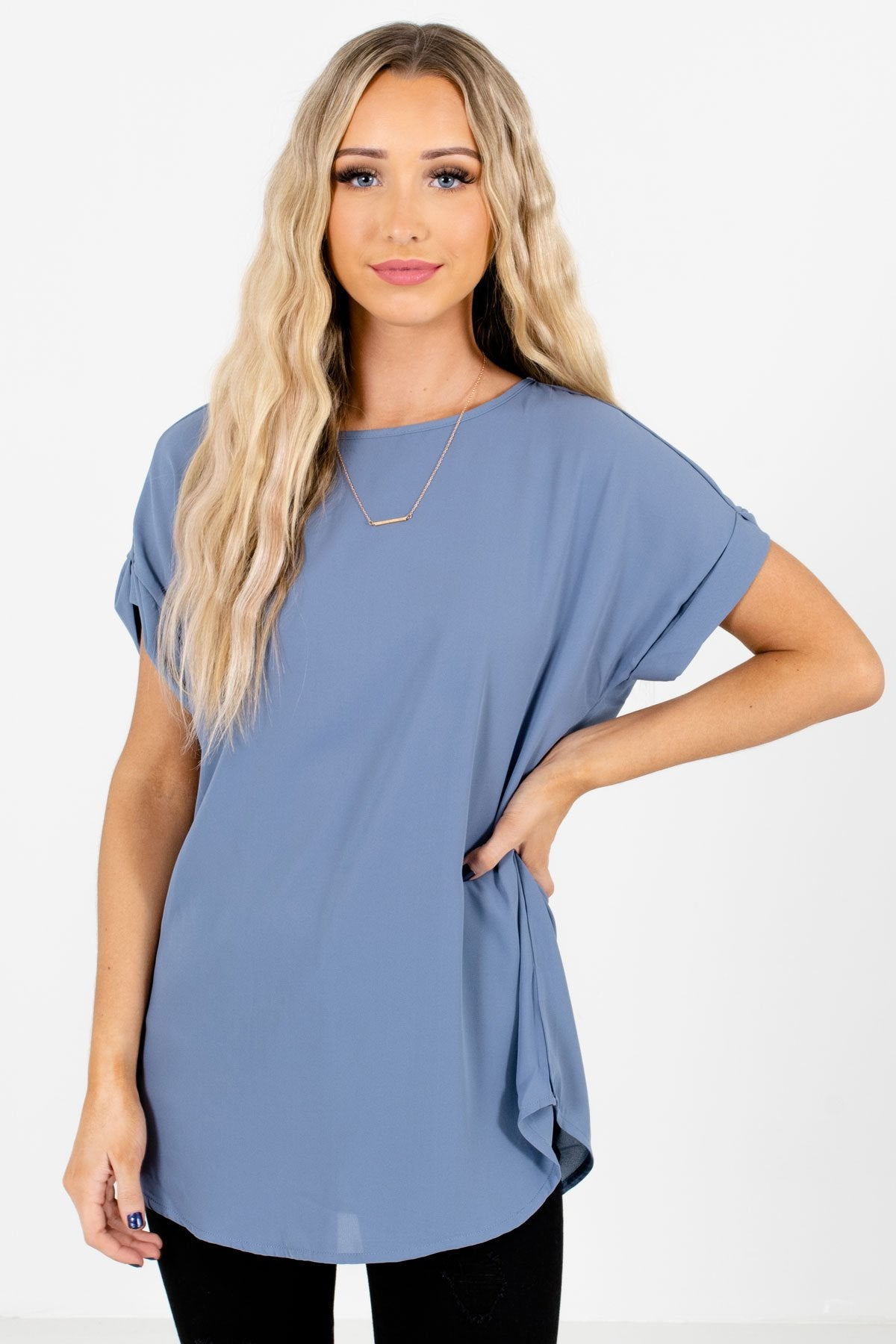 Blue Lightweight and Flowy Boutique Blouses for Women