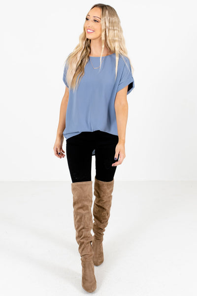 Blue Cute and Comfortable Boutique Blouses for Women