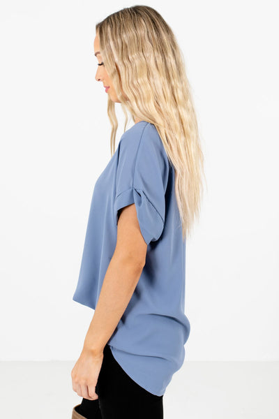 Blue Layering Boutique Blouses for Women