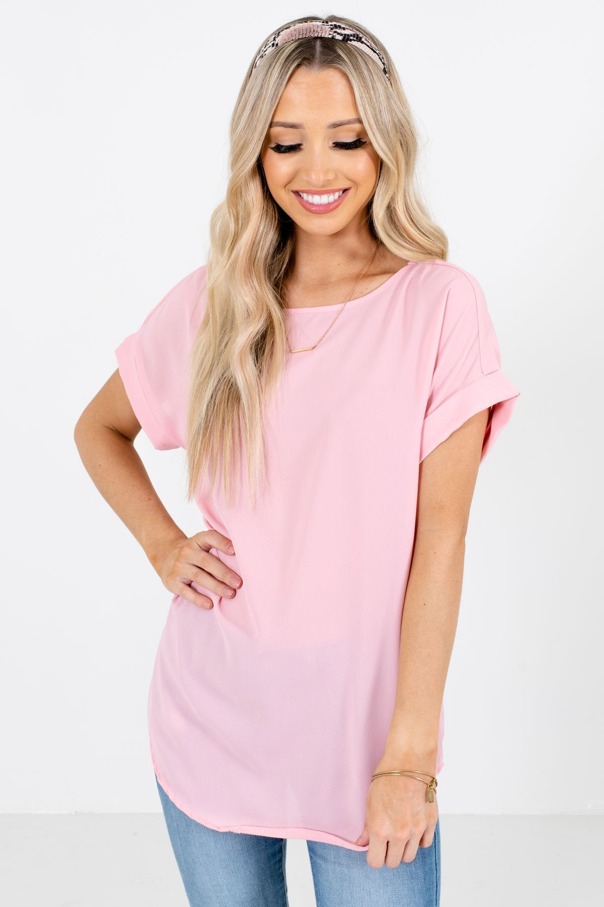 Dusty Pink Lightweight and Flowy Boutique Blouses for Women