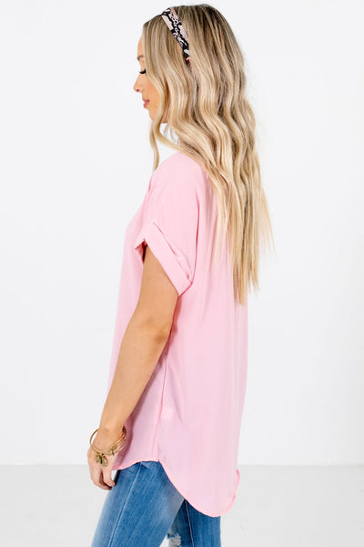 Dusty Pink Layering Boutique Blouses for Women