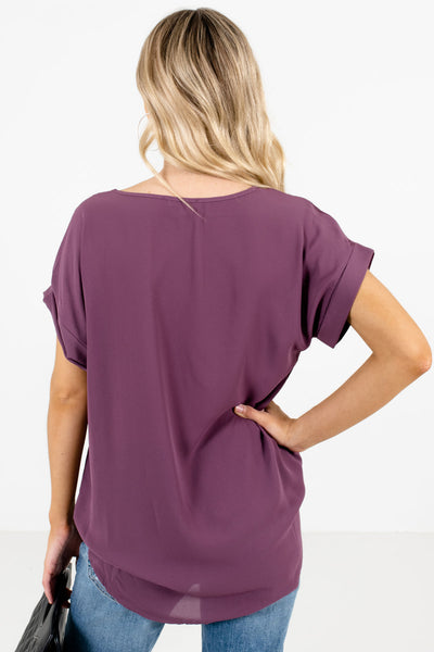 Women's Purple Cuffed Sleeve Boutique Blouse