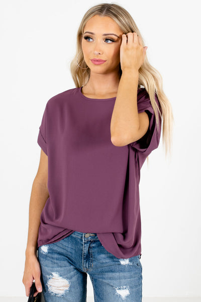 Women's Purple Round Neckline Boutique Blouse
