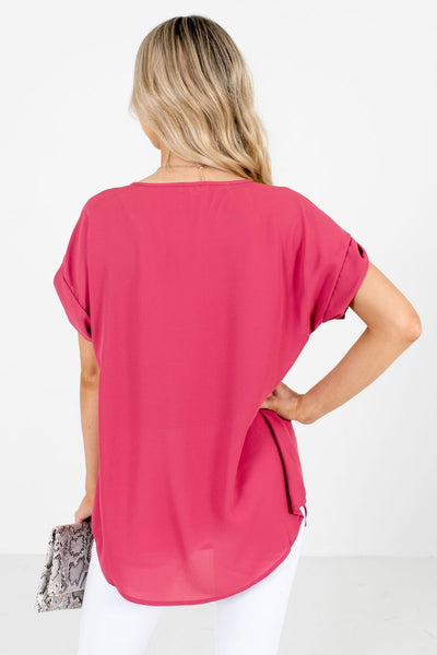 Women's Rose Pink Cuffed Sleeve Boutique Blouse