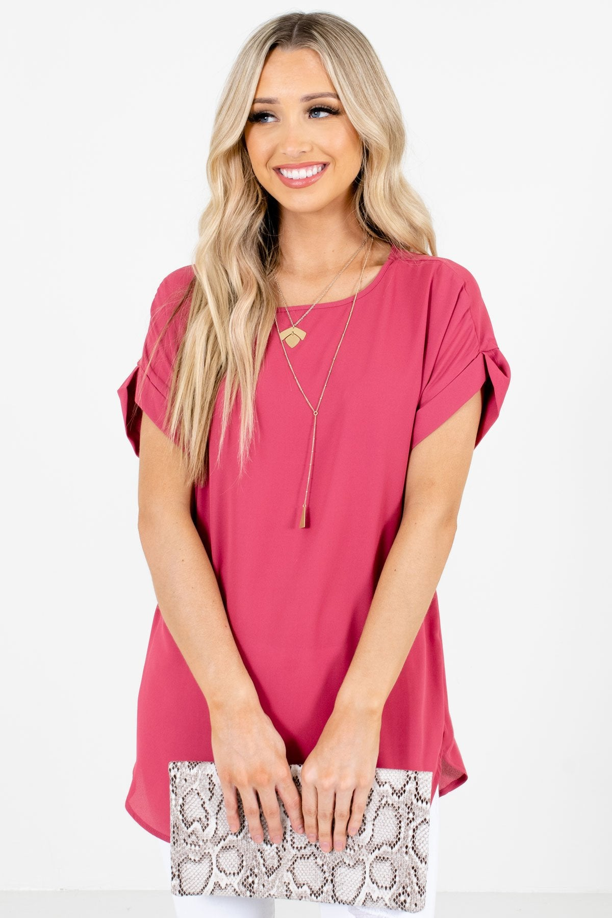 Rose Pink Lightweight and Flowy Boutique Blouses for Women
