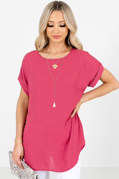 Women's Rose Pink Round Neckline Boutique Blouse