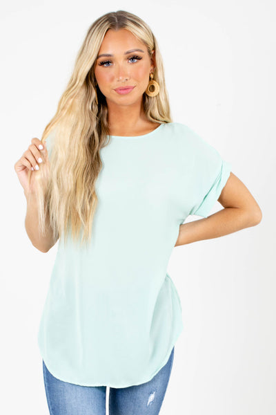 Sage Cuffed Sleeve Boutique Blouses for Women