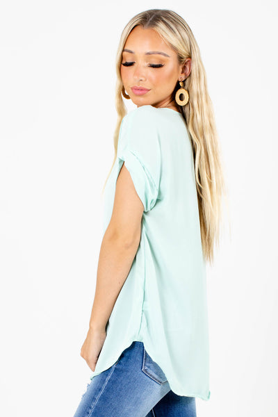 Sage Green High-Low Hem Boutique Blouses for Women