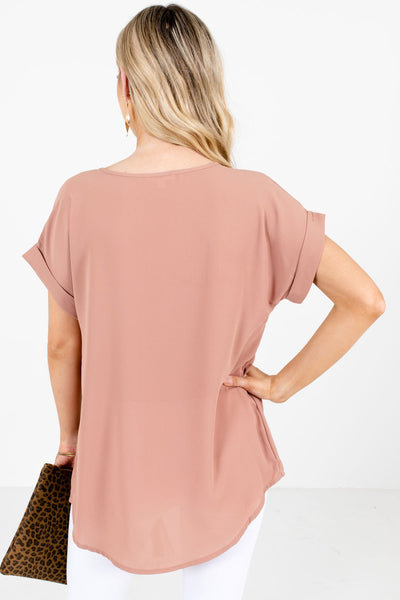Women's Tan Brown Cuffed Sleeve Boutique Blouse
