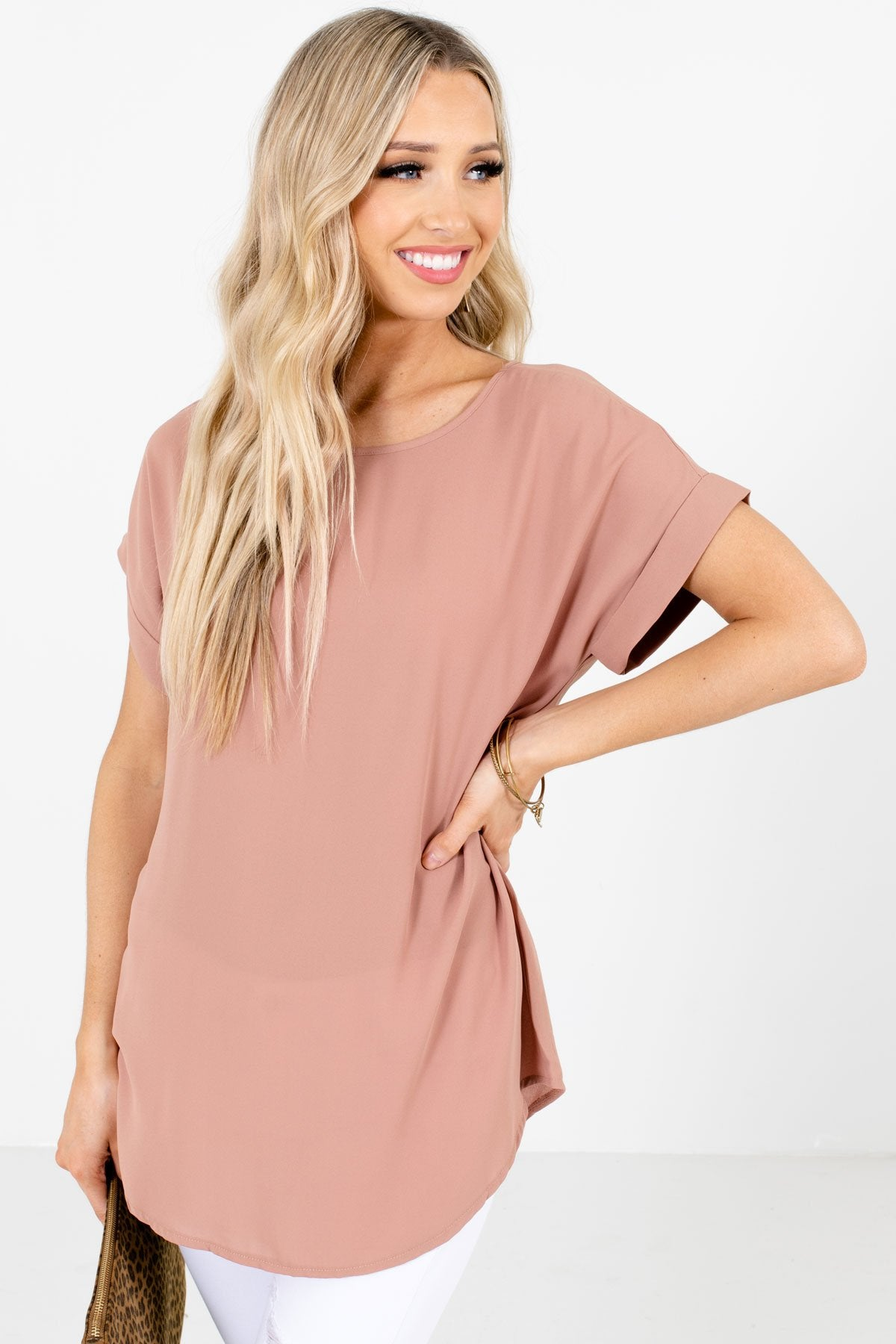Tan Brown Lightweight and Flowy Boutique Blouses for Women