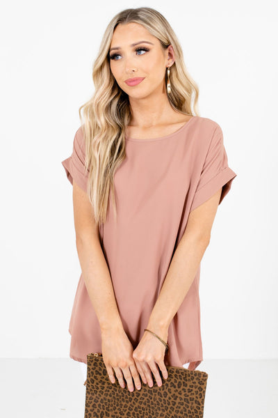 Women's Tan Brown Subtle High-Low Hem Boutique Blouse