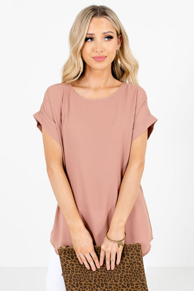 Women's Tan Brown Round Neckline Boutique Blouse
