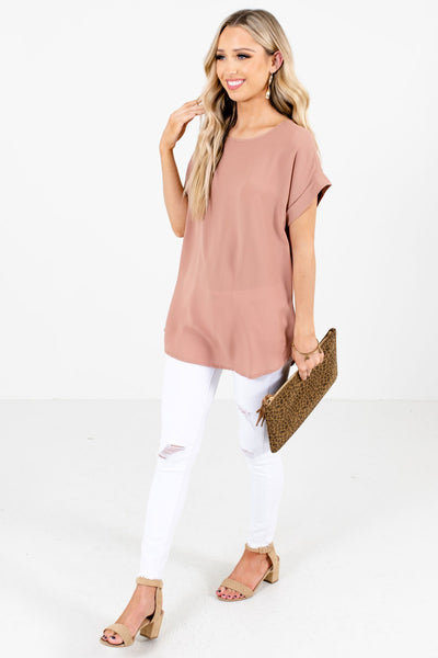 Tan Brown Cute and Comfortable Boutique Blouses for Women