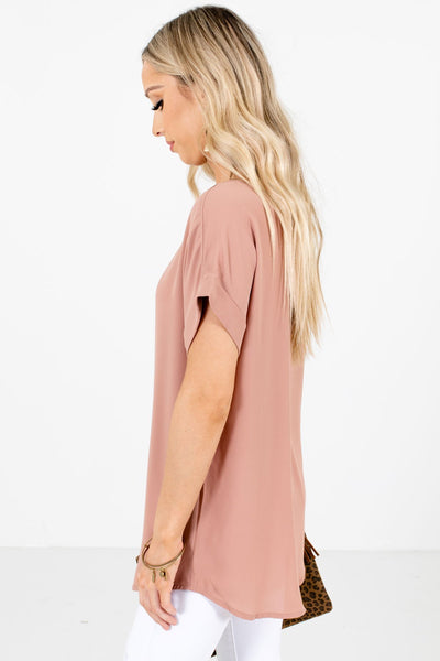 Tan Brown Layering Boutique Blouses for Women