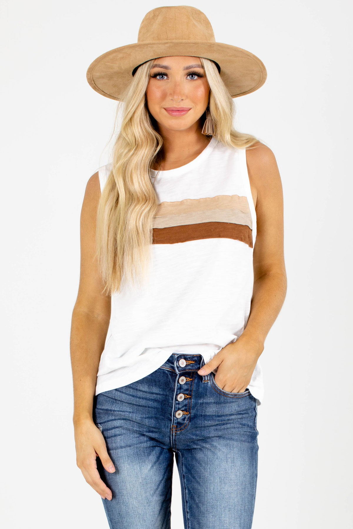 White and Brown Striped Boutique Tank Tops for Women