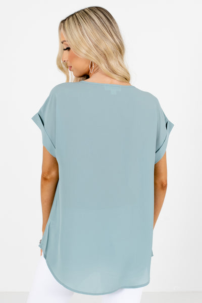 Women's Green Cuffed Sleeve Boutique Blouses for Women