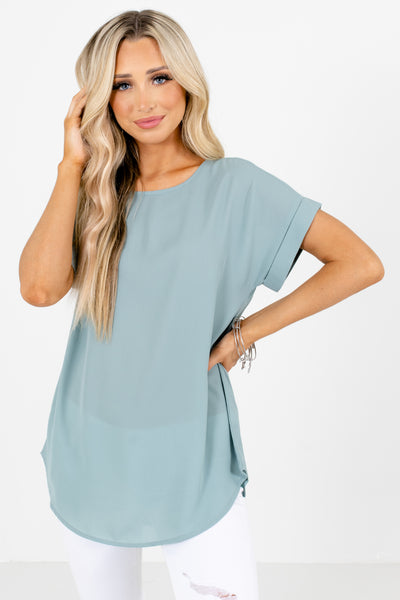 Green Round Neckline Boutique Blouses for Women