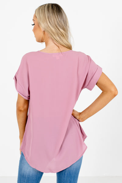 Women's Pink Cuffed Sleeve Boutique Blouse