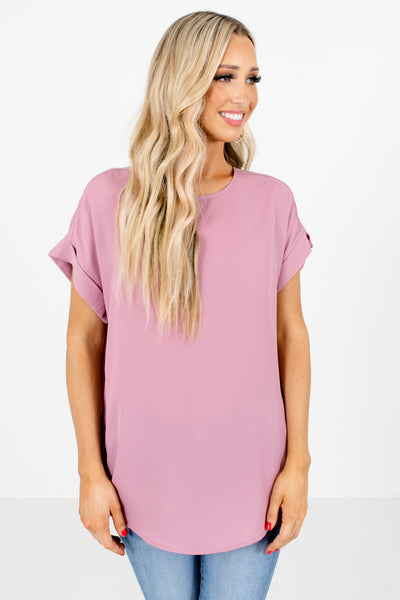 Pink Round Neckline Boutique Blouses for Women