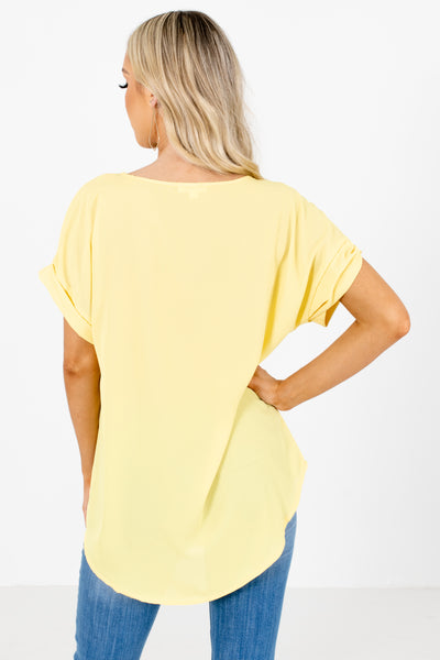Women's Yellow Cuffed Sleeve Boutique Blouses