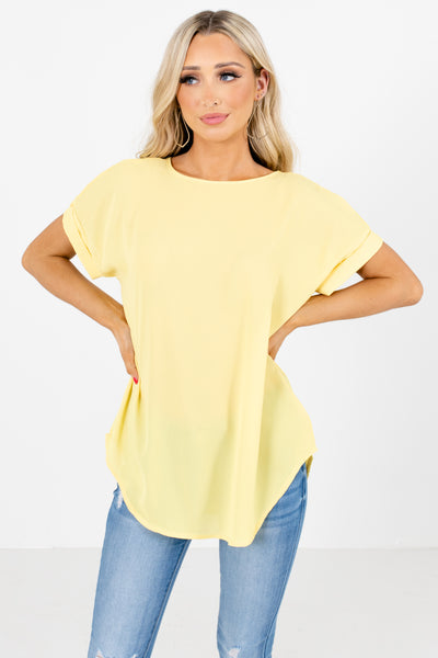 Yellow Round Neckline Boutique Blouses for Women