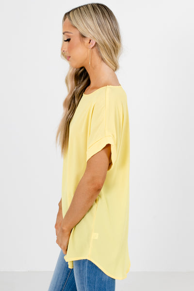 Yellow Lightweight Flowy Boutique Blouses for Women