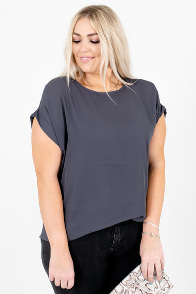 Gray Lightweight and Flowy Boutique Blouses for Women