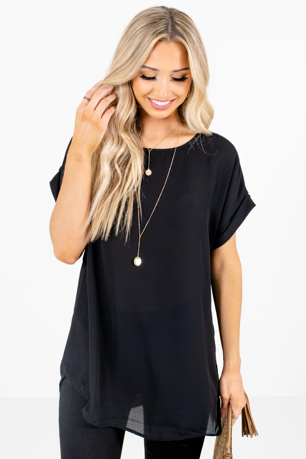 Black Lightweight and Flowy Boutique Blouses for Women
