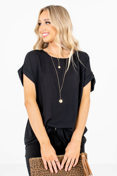 Women's Black Subtle High-Low Hem Boutique Blouse