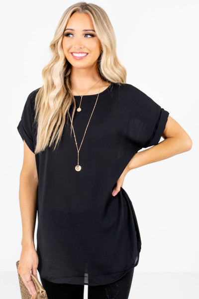 Women's Black Round Neckline Boutique Blouse