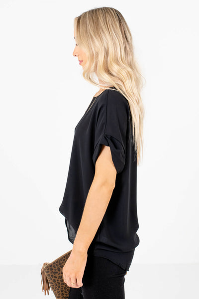 Black Layering Boutique Blouses for Women