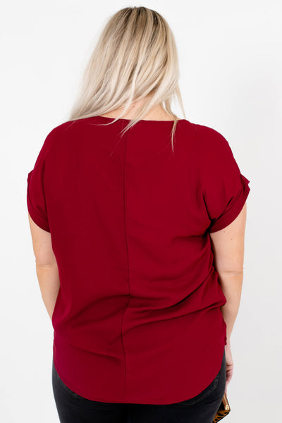 Women's Burgundy Red Cuffed Sleeve Boutique Blouse