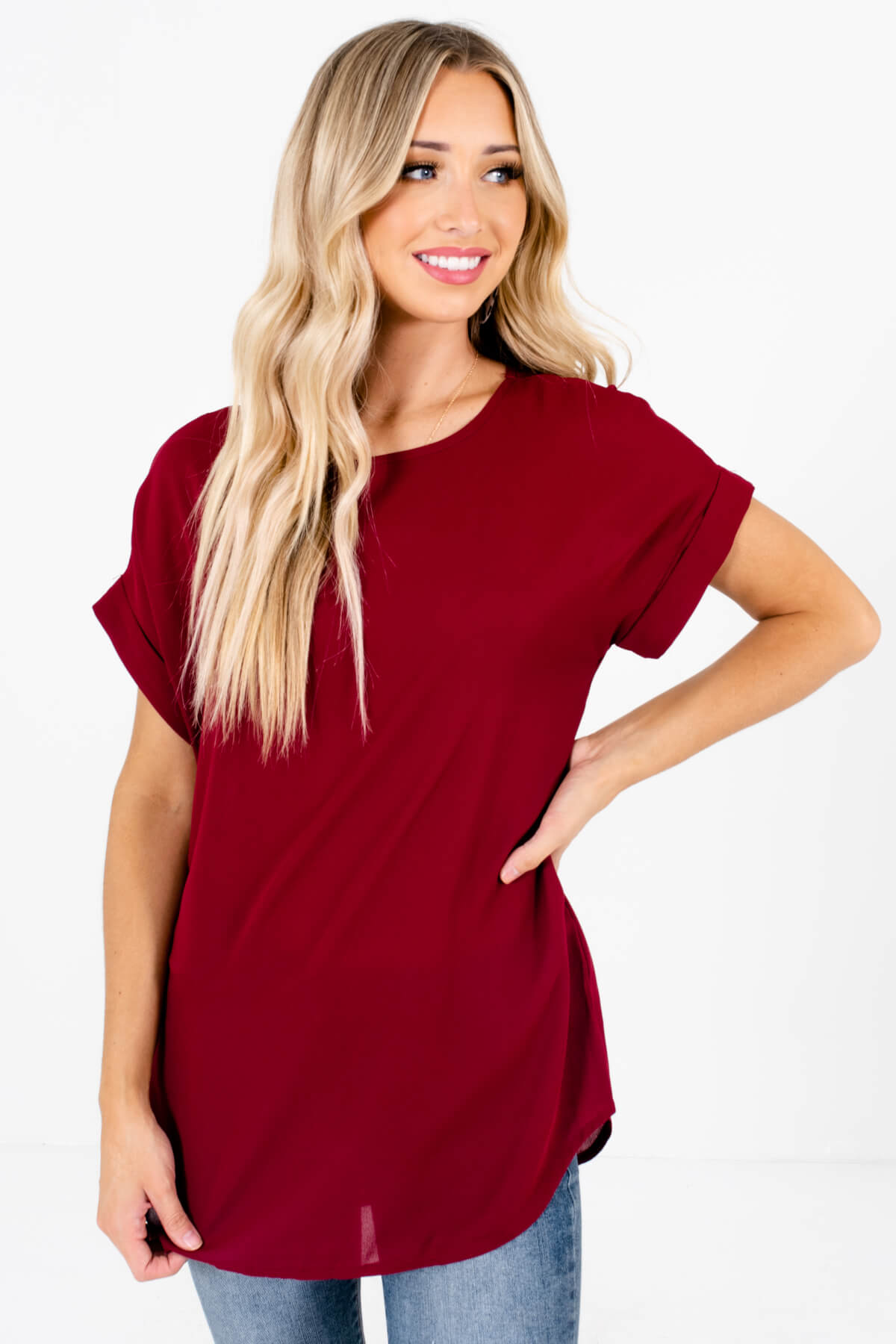 Burgundy Lightweight and Flowy Boutique Blouses for Women