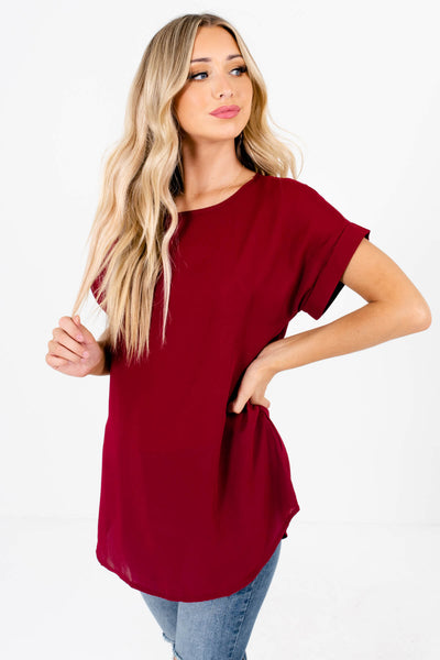 Burgundy Cute and Comfortable Boutique Blouses for Women